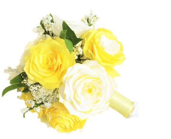 Yellow wedding bouquet Alternative paper bouquet by CENTERTWINE