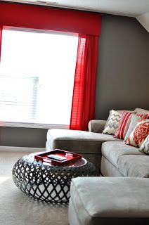 Love The Cherry Red Against The Dove Gray. Family Room ColorsLiving ...