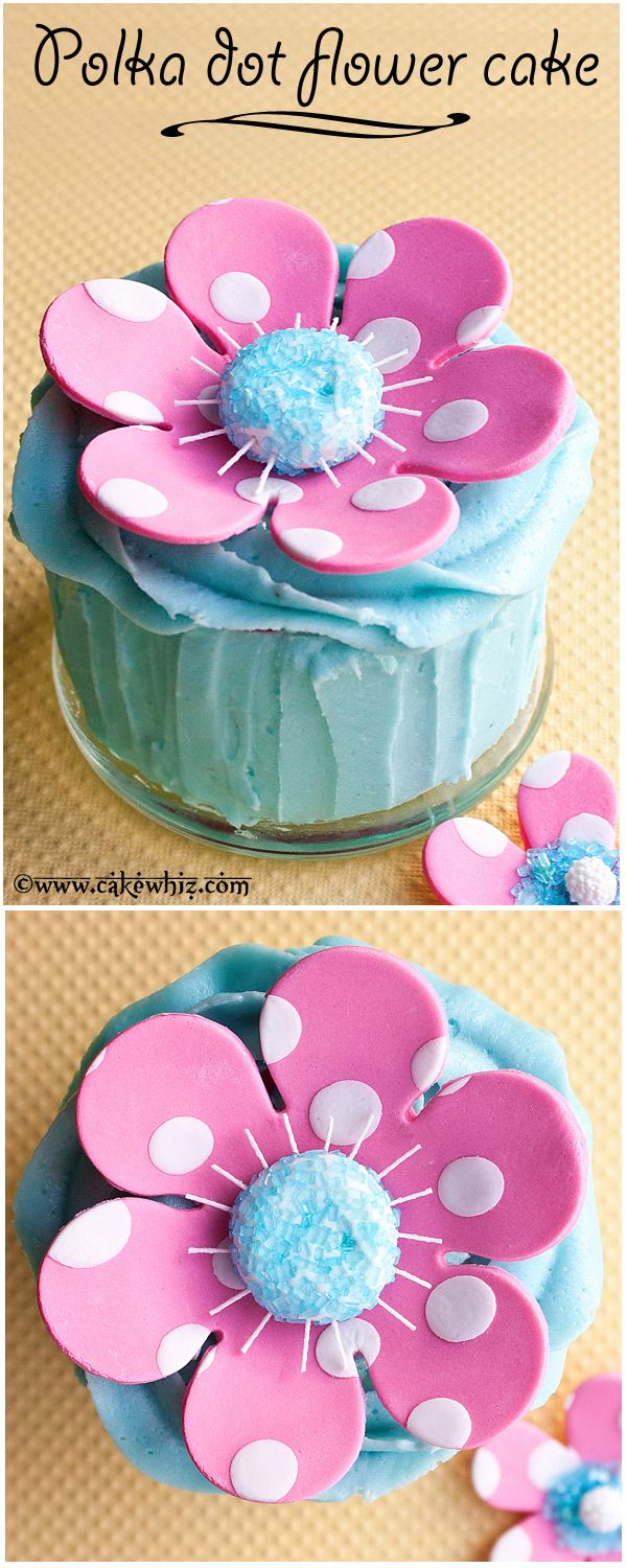 A cute pink and white POLKA DOT FLOWER CAKE with tutorial. Perfect for birthdays and baby showers! From cakewhiz.com