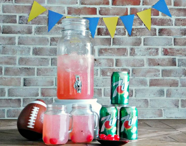 7UP Fruity Football Party Punch. This alcoholic party punch is sure to be a favorite with your guests. Mix 7UP with pink lemonade, vodka and triple sec.