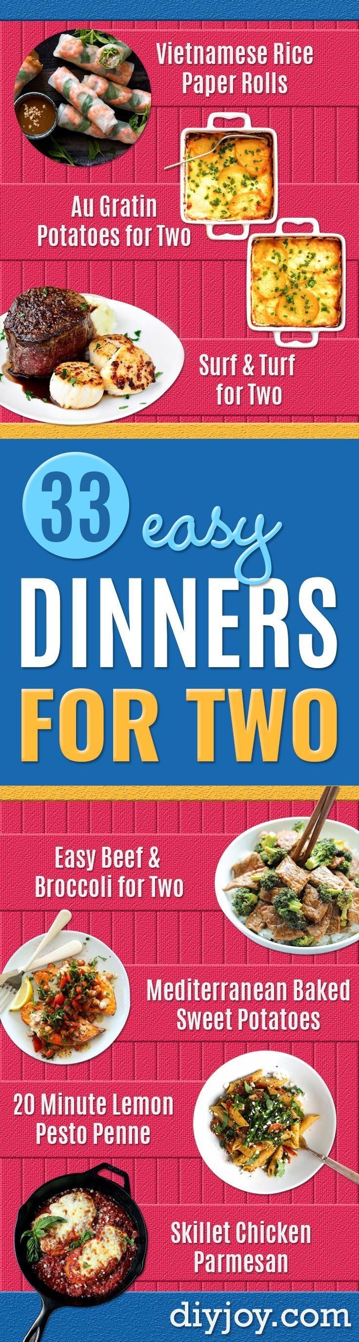 Easy Dinner Ideas for Two - Quick, Fast and Simple Recipes to Make for Two People - Freeze and Make Ahead Dinner Recipe Tips for Best Weeknight Dinners - Chicken, Fish, Vegetable, No Bake and Vegetarian Options - Crockpot, Microwave, Healthy, Lowfat Options http://diyjoy.com/easy-dinners-for-two #fishrecipesfordinner