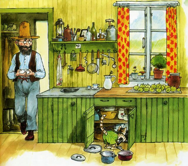 "green country kitchen (""Pettson och Findus"" illustration)"