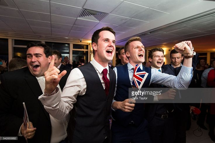 People react to a regional EU referendum result at the Leave.EU campaign's referendum party at Millbank Tower on June 23, 2016 in London, England. The United Kingdom has gone to the polls to decide whether or not the country wishes to remain within the European Union. After a hard fought campaign from both REMAIN and LEAVE the vote is too close to call. A result on the referendum is expected on Friday morning.(Photo by Jack Taylor/Getty Images)