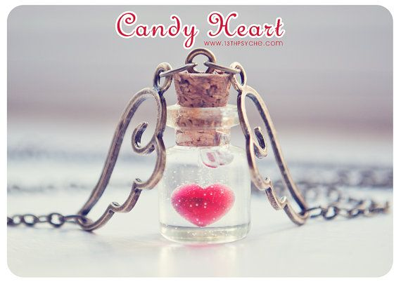 Candy Heart Tiny glass Bottle Necklace. heart by 13thPsyche, €9.99