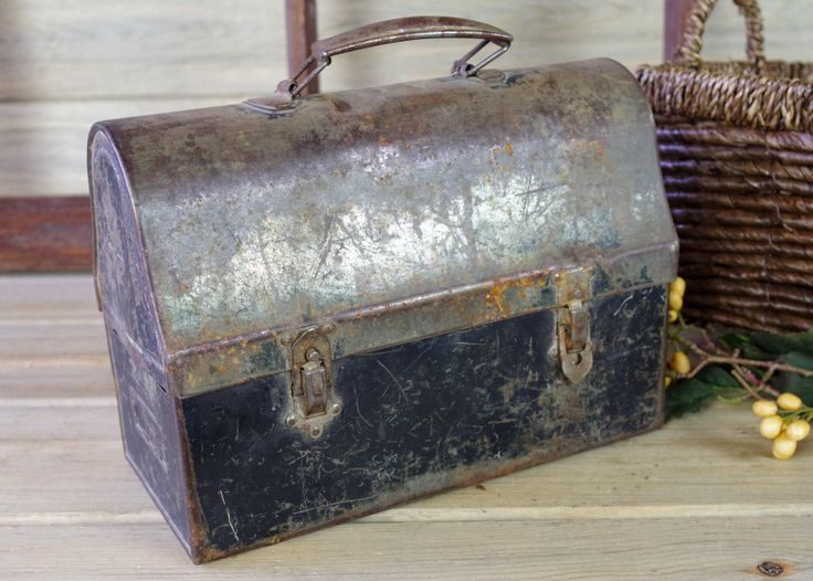Metal Lunch Box, Metal Pot, Vintage Storage, Rustic Decor, Shop Display, Industrial Lunch Box, Metal Box, Garden, Patio Metal Planter #10-25 by RusticSpoonful on Etsy