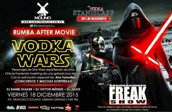 "El Molino presenta: ""Star Wars: Vodka Wars – Rumba After Movie"" http://crestametalica.com/events/el-molino-presenta-star-wars-vodka-wars-rumba-after-movie/ vía @crestametalica"