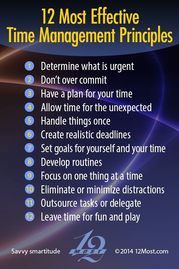 12 Most Effective Time Management Principles http://12most.com/2014/03/18/12-effective-time-management-principles/
