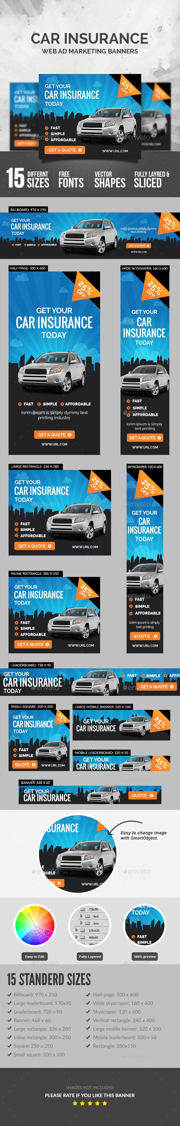 Car Insurance Banners Template PSD