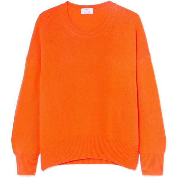 AlludeOversized Cashmere Sweater found on Polyvore featuring tops, sweaters, orange, evening sweaters, special occasion tops, orange sweaters, oversized tops and wool cashmere sweater