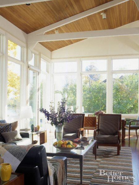 Fabulous Three Seasons Room Windows White Beams Wood Ceiling Inviting Furniture And