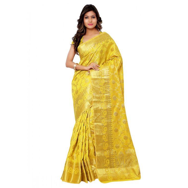 Yellow Silk Designer #Saree With Blouse- $41.95
