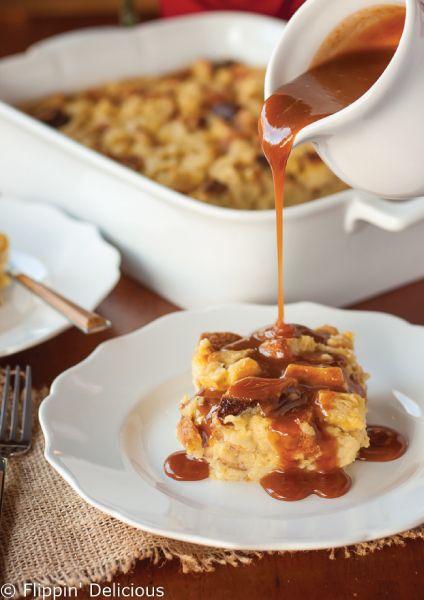 Eggnog Bread Pudding with Bourbon Caramel Sauce