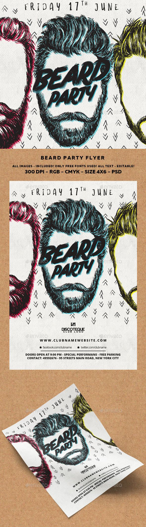 Beard Party — Photoshop PSD #beard contest #mustache • Available here → https://graphicriver.net/item/beard-party/15569108?ref=pxcr