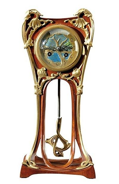 "Louis Majorelle (1859-1926) - Pendulum Clock. Mahogany with Gilt Bronze Handware and Moldings. Circa 1900. 37-1/2"" | JV"