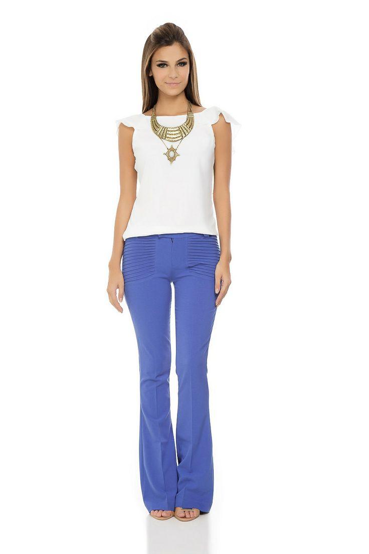 Calça Flare Detalhe Bolso Azul Cobalto - roupas-calcas-calca-flare-detalhe-bolso-azul-cobalto Iorane
