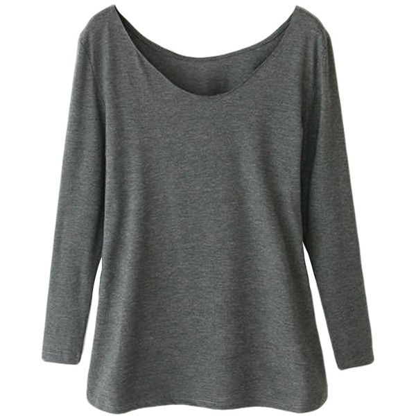 Gray Ladies Crew Neck Plain Long Sleeve Modal Cotton T-shirt ($15) ❤ liked on Polyvore featuring tops, t-shirts, cotton t shirt, long sleeve cotton t shirts, crew neck tee, crewneck tee and long sleeve t shirt