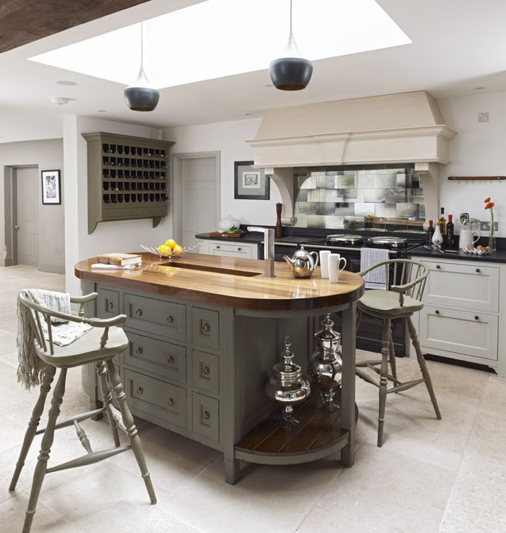 GRAY BOTTOM-WOODEN TOP Modern Country Style: The Top Ten Grey Country Kitchens Click through for details.