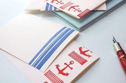 block printed notecards