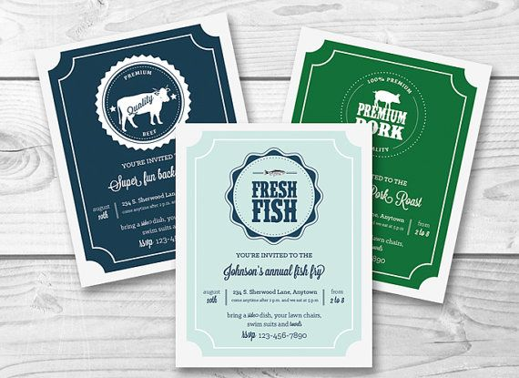 BBQ Printable Party Invitation  barbecue pig by PicadillyLime, $13.00