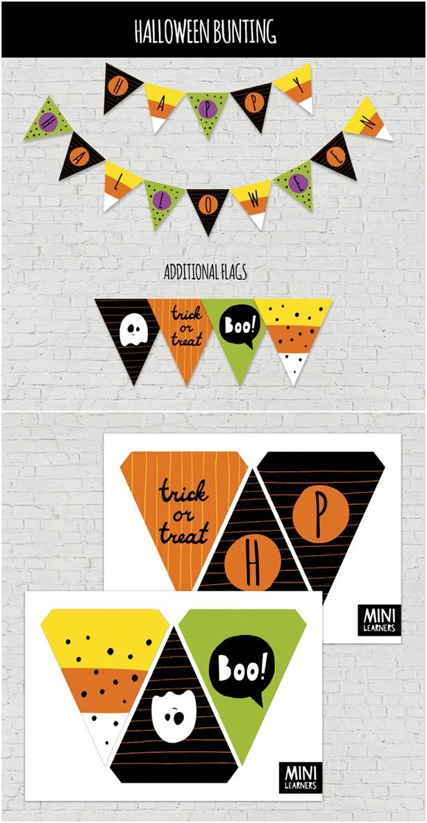 Festive Free Printable Halloween Bunting or Garland for Kids. All you need to do is print and cut this fun Halloween garland for instant Halloween decor!
