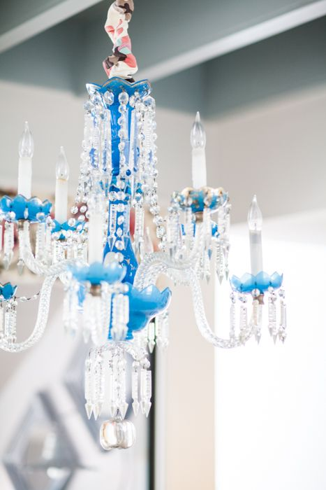 Creative Tonic - Courtnay Tartt Elias: 19th century French blue opaline glass chandelier and Alan Campbell for Quadrille fabric; Julie Soefer Photography