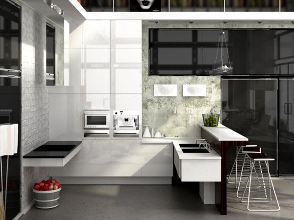 See how you can mix white high-gloss with other materials to create different moods and styles in the kitchen. | Get RAUVISIO brilliant cabinets in Bianco to create these looks | https://www.rehau.com/us-en/furniture/surfaces/rauvisio-brilliant