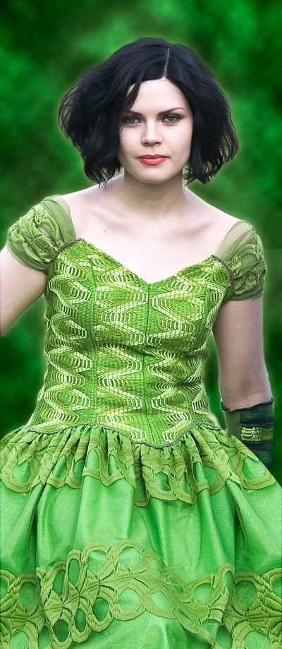 Upcycled green dress made from curtains by yanay.