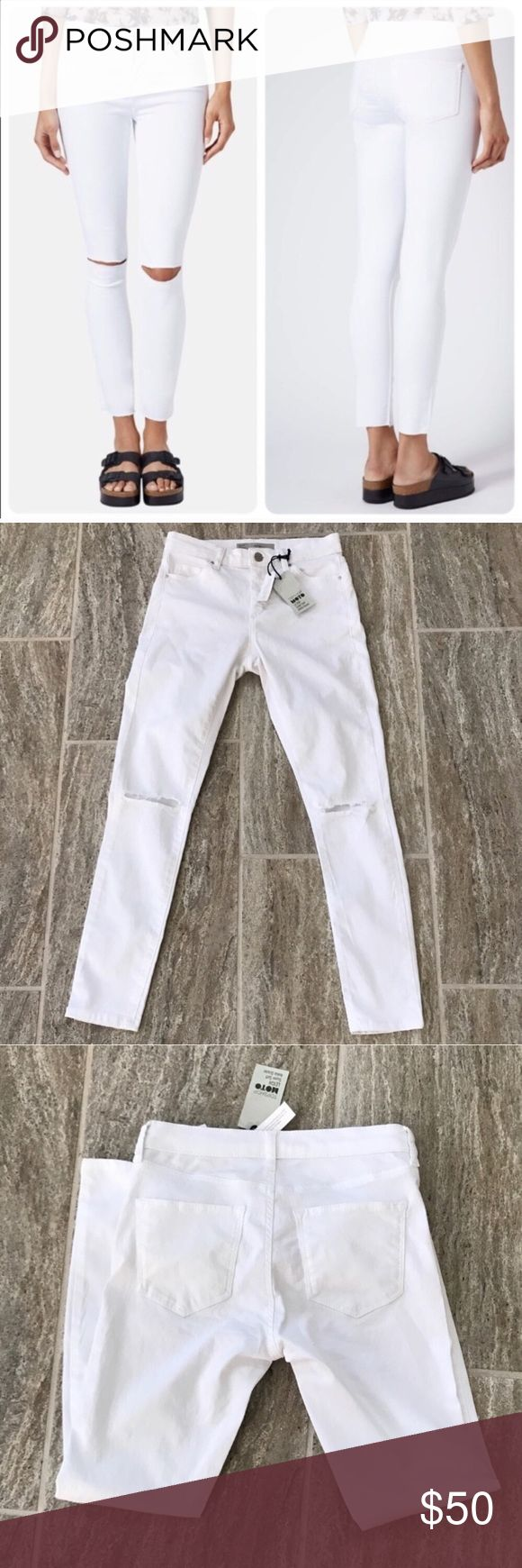 NWT Topshop Moto Leigh Soft Ankle Grazer Jeans Topshop Ripped Knee Moto Leigh Jeans Style#: 02L02JWHT White Size: W25 to fit L32 High-waisted skinny jeans of stretch-denim find casual, carefree style with lightly whiskered hips, sliced knees and ankle-length hems.  Zip fly with button closure  Five-pocket style  67% cotton, 29% polyester, 4% elastane  Machine wash, line dry Topshop Jeans Skinny