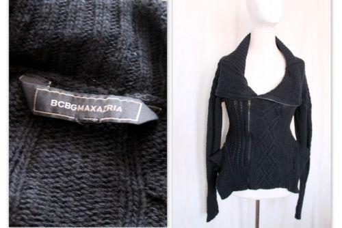 BCBG-MAX-AZRIA-pull-cardigan-zippe-noir-a-basque-avec-laine-taille-S
