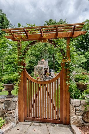 Asian Landscape/Yard with outdoor pizza oven, Wood gate, Saloon door, Custom cedar fence, Trellis, Fence, Raised beds, Gate