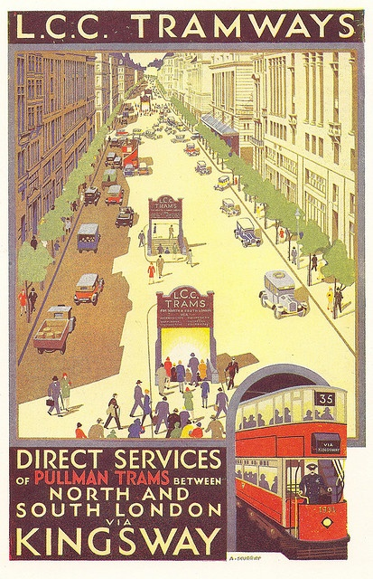 LCC Tramways - Kingsway Subway poster by A. Murray - 1931 by mikeyashworth, via Flickr