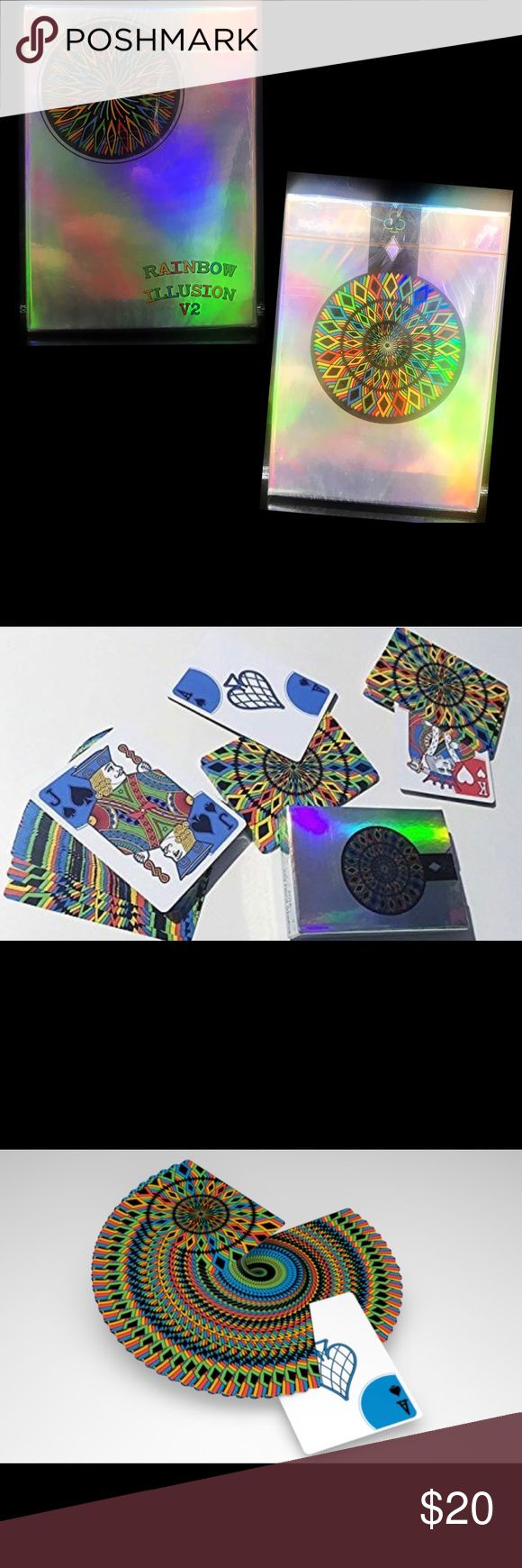 Rainbow Illusion V2 Playing Cards Limited Edition NEW / SEALED it has a cool and colorful design. While being a four-color pips deck, it is still kept traditional by having two colored suits in black and white. Card backs reveal all colors of the rainbow. The deck's beautiful tuck box is made of rainbow metallic paper, producing a gorgeous shine from different angles. Only 1,000 of these special decks have been printed, so get in while they're still available! lpcc Accessories