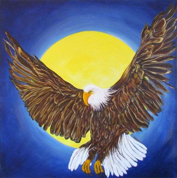 A Time To Shine, Original Fine Art Eagle Painting, by Deborah Robinson, Acrylic on Canvas.