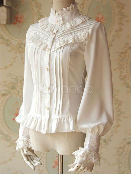 White Lolita Blouse Chic Chiffon Shirt for Women