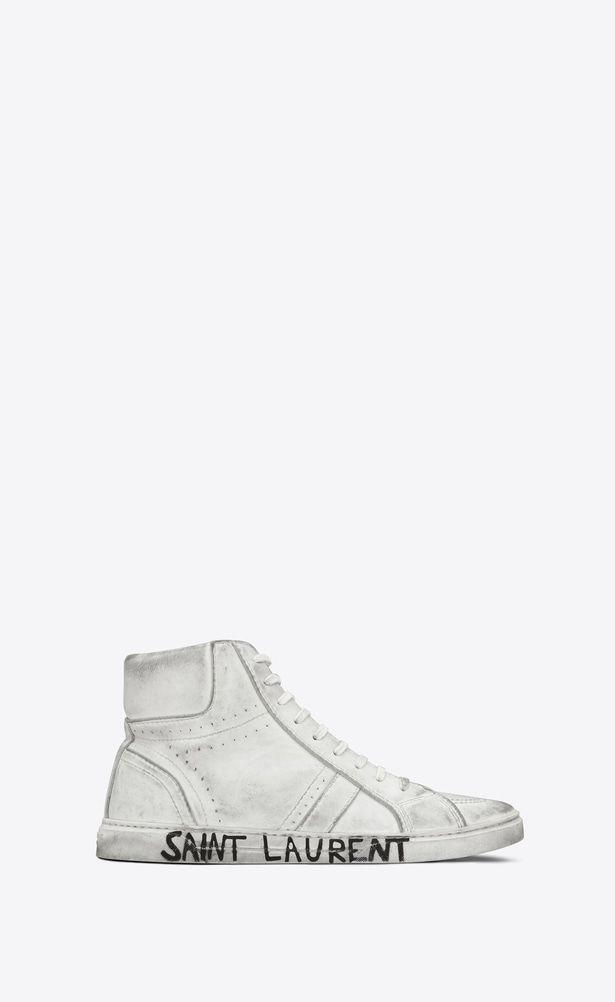 22d15cf6e16 SAINT LAURENT High top sneakers Man Joe sneaker in worn-look white leather  a_V4