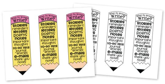 "UPDATE: Mini ""What Do Writers Write?"" images for your students' writing workbooks! They go along perfectly with the poster! Check out this post to re-download the document and get your own copy! :)"