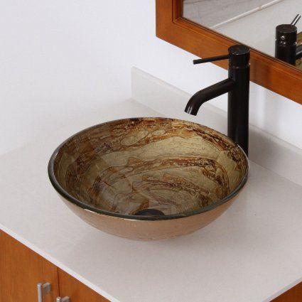 $139.33 Sink And Faucet Combo Amazon ELITE Modern Design Tempered Glass  Bathroom Vessel Sink U0026 Oil