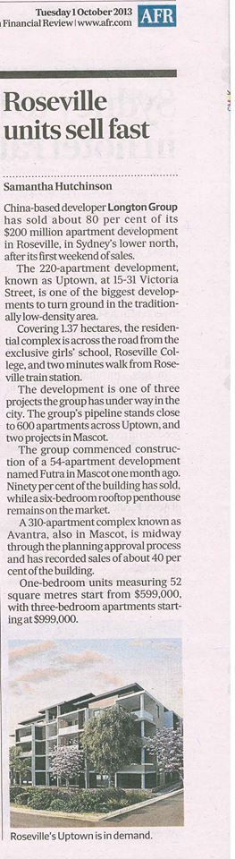 Uptown as featured in The Australian Financial Review 1 Oct 2013, 'Roseville Units Sell Fast' by Samantha Hutchinson