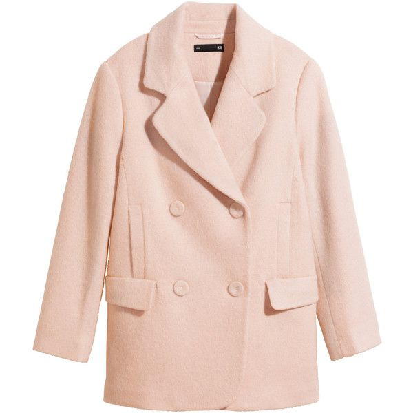 H&M Coat in a wool blend ($22) ❤ liked on Polyvore featuring outerwear, coats, jackets, h&m, powder pink, h&m coats, pink coat, short double breasted coat, short coat and wool blend coat