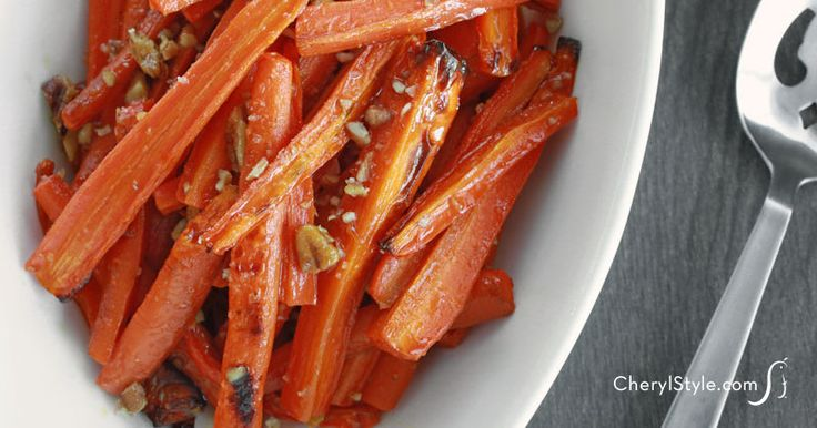 Roasted carrots with maple syrup and pecans - CherylStyle