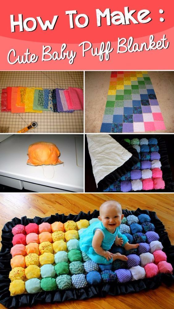 DIY Gifts for Babies - Super Cute Baby Puff Blanket - Best DIY Gift Ideas for Baby Boys and Girls - Creative Projects to Sew, Make and Sell, Gift Baskets, Diaper Cakes and Presents for Baby Showers and New Parents. Cool Christmas and Birthday Ideas http://diyjoy.com/diy-gifts-for-baby