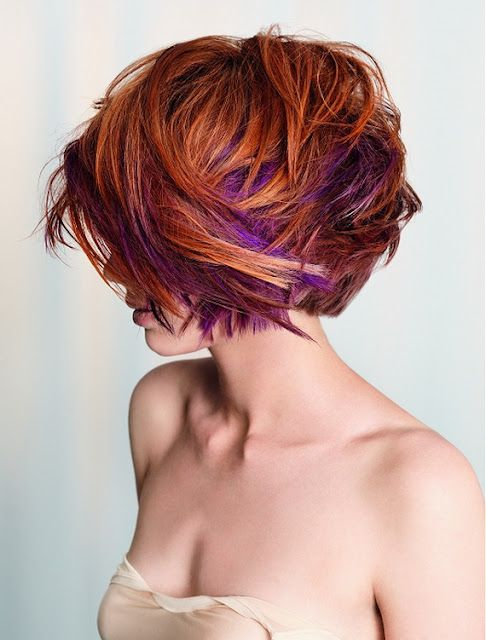 This is a nice change to the usual blonde highlight in red hair.     #purplehighlight, #redhead, #shorthair