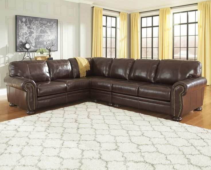 3 Piece Leather Match Sectional With Rolled Arms Nailhead
