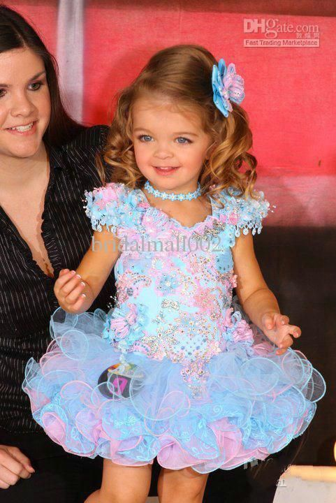Wholesale - 2014 New Arrival Blue Pink Glitz Pageant Princess Cupcake Dresses Little Girls Pageant Dresses
