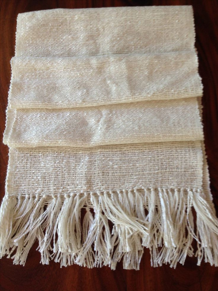 Pure Silk Scarf - hand spun and hand woven. Length 165cm (180cm with tassels) width 30cm.