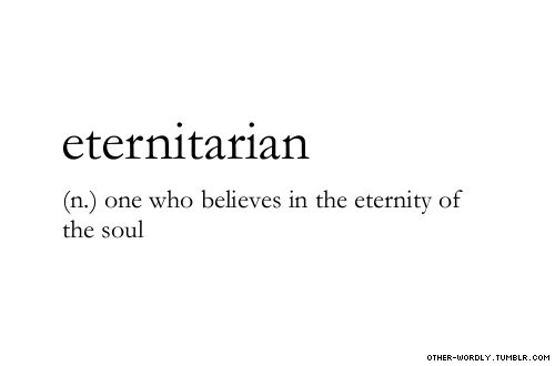 pronunciation | E-'ter-ni-'ter-E-an                                     #eternitarian, noun, it's sort of a word, eternity, soul, heaven, words, otherwordly, other-wordly, definitions, E