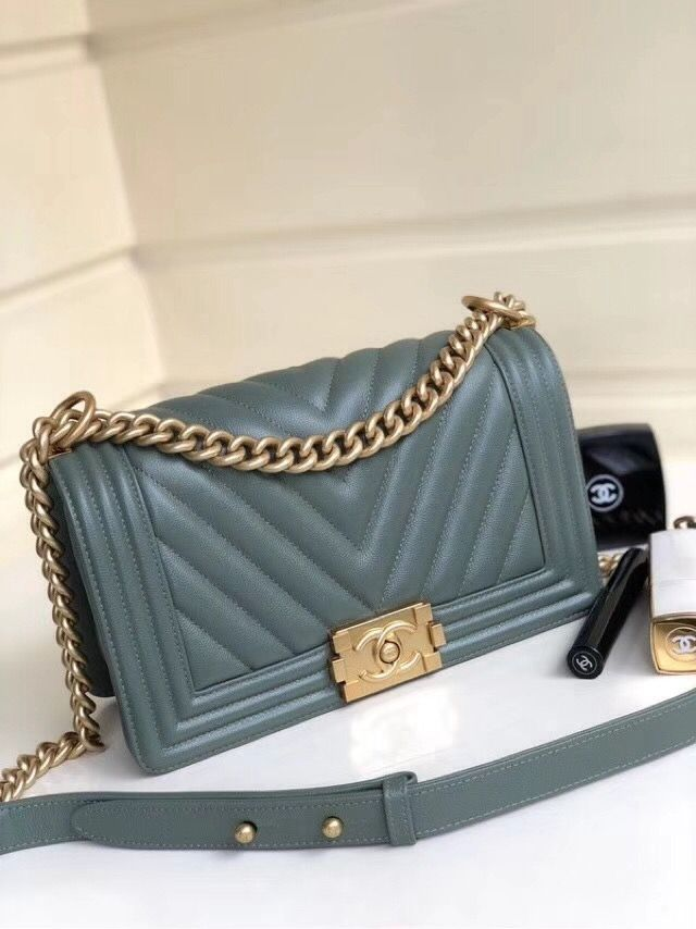 2be31cbbaaba Chanel Grained Calfskin Medium BOY CHANEL Handbag with Gold-tone Metal  Green 2018