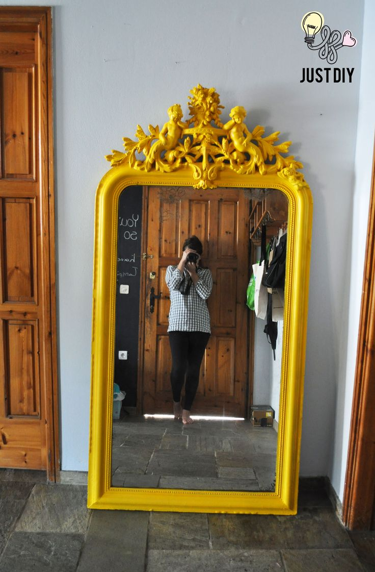 Bright Yellow Mirror Revamp! #diy #spray #paint #yellow