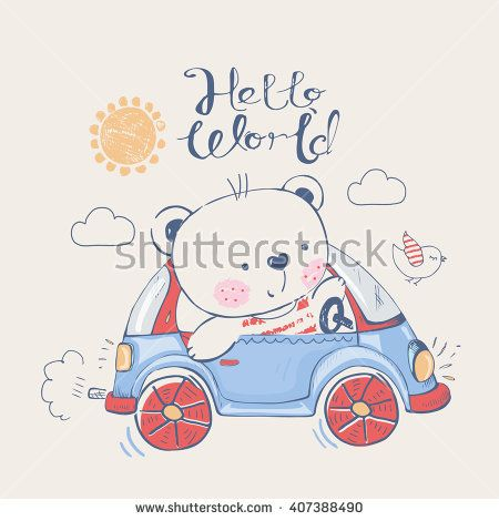 Bear in car.can be used for kid's or baby's shirt design/fashion print design/fashion graphic/t-shirt/kids wear