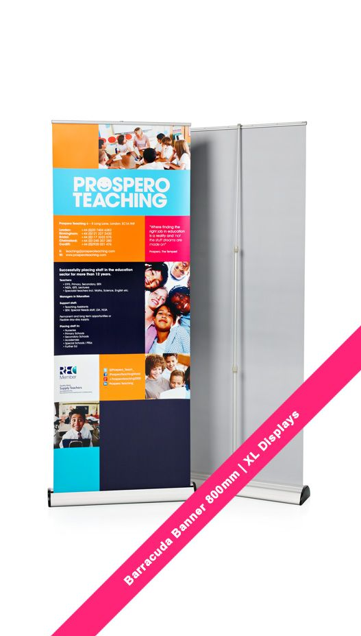 Barracuda Banner Stand. Pull up banner 800mm wide for Prospero Training. XL Displays UK.  #barracudabanner #pullupbanners